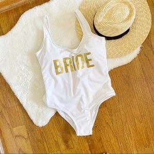 Alas Olas Bride White One Piece Bathing Suit NWOT